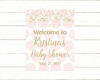 Pink and Gold Baby Shower Welcome Sign, Pink and Gold Baby Shower Welcome Sign Printable, Baby Sprinkle Welcome Sign Digital Print PDF 203
