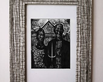 Miniature Version of Grant Wood's - American gothic * Original Framed Artwork *