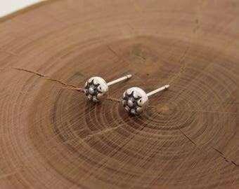 Sunburst Sterling Silver Stud Earrings, Small Stud, Single Earring, Sterling Silver Earrings Studs 4mm, Sun Earrings, Second Hole Earrings