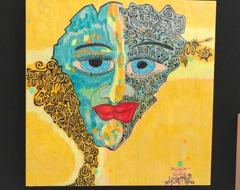 """Wall, outsider, art, """"DayDreamer"""", face, colorful, yellow & blue, painting, original, Larry Cutler, Sale, item, from Art show, 20"""" x 20"""""""