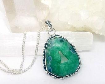 Druzy Geode Necklace Geode Necklace Geode Crystal Necklace Solar Druzy Necklace Solar Druzy Crystal Geode Pendant Druzy Necklace