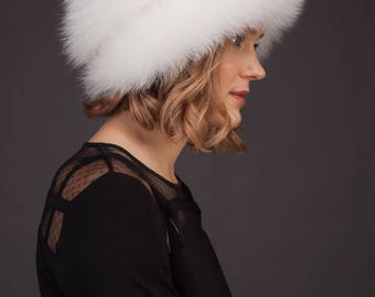 Handmade real natural white fox fur hat with leather inserts and fur pom-pom, Gift idea for women