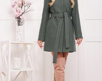 Gray chunky coat.Oversized coat.Spring coat.Coat for women.Wool coat.Alpaca coat.Long coat.Long sleeves coat.Coat with belt.Simple coat