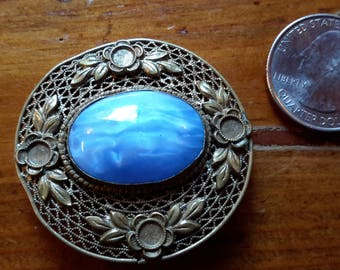 Blue Czech Glass Cabochon Vintage Brass Filagree Brooch Pin