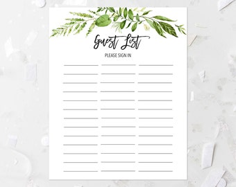 Greenery Guest List Printable Green Foliage Sign In List Bridal Shower Guest  List Baby Shower Guest  Guest List Template For Wedding