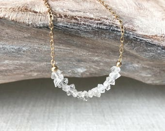Dainty Rough Herkimer Diamond Necklace in Gold or Silver