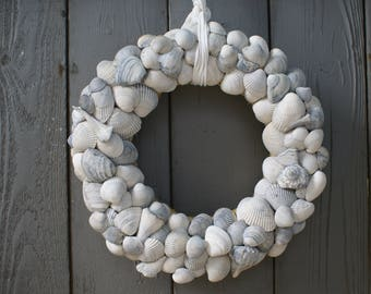 "Seashell wreath-13"" blue wreath-beach wreath-nautical wreath-coastal wreath-shell wreath"