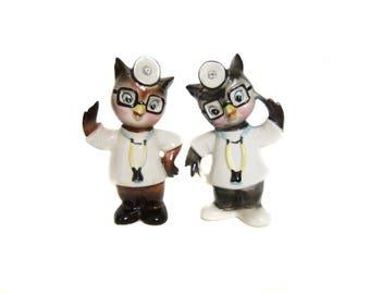 Doctor Owl Salt and Pepper Shakers, Enesco Japan Vintage Owls, Owl Decor, Anthropomorphic Owl Figurines