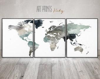 World map art set of 3 prints, Large wall art, 3 pieces wall art, travel decor, home decor, Gift, ArtPrintsVicky