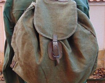 Vintage Green Canvas Backpack, Military Bag, Military Backpack, Canvas Rucksack, Rucksack , Distressed Bag