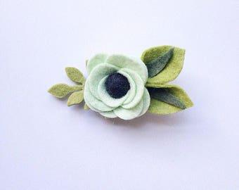 Mint Chocolate Chip Felt Flower Hair Clip or Headband | Mint Felt Flower