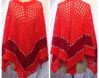 Fabulous vintage 1960's/70's orange red/crimson hand crochet wool poncho/boho/hippie/festival/flower power