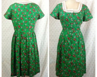 Fabulous vintage 1960's green pink and red rose print cotton shirt dress/dirndl style/european/xmas/ spring/floral dress