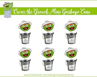 6 OSCAR THE GROUCH Mini Trash Cans,Oscar the Grouch Party Decor,Sesame Street Party Printable,Elmo Party Decor,Oscar Trash Cans,Mini Buckets