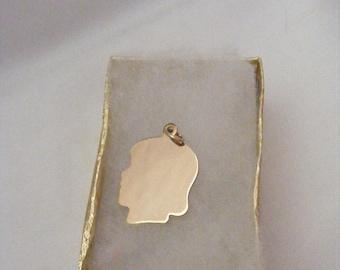 Vintage 12K GF Girl Silhouette Charm or Pendant