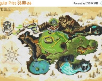 Ura hyrule map Cross Stitch Pattern point de croix, needlepoint, needlework - 331 x 220 stitches - Instant Download - B1126