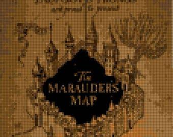 marauder's map Cross Stitch Harry potter Cross Stitch Pattern Kräiz Stitch - 114 x 215 stitches - INSTANT Download - B1133
