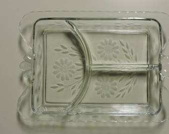 Hughes Cornflower 3 Part Relish Dish Condiment Plate Etched