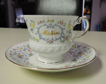 Vintage Elizabethan MOTHER Bone China Teacup & Saucer Celebration Series