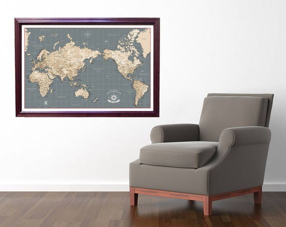 World push pin travel map asia and australia centered map like this item sciox Images