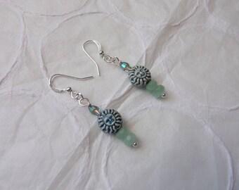 SUN  BEADED EARRINGS//Ceramic Beads//Gemstone Earrings//Silver Jewelry//Silver Earrings//Gift For Her//Multi Bead Earrings//Dangle Earrings