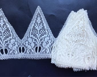 """antique french cotton lace trim. For the vintage loving seamstress. 4 yard 19"""" x 4""""1/2 couture lingerie, blouse, clothing"""