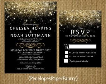 Elegant Black And Gold New Yearu0027s Eve Wedding Invitation,Gold Glitter  Print,Fairy Dust