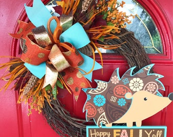 Fall Harvest wreath Thanksgiving wreath Happy fall y'all sign Turquoise wreath Fall wreath Front door grapevine wreath Fall flower wreath