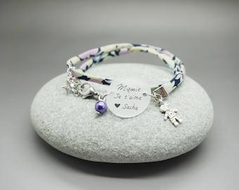 """bracelet liberty cabochon """"Mamie en or"""" oiseau coeur personnalisable"""