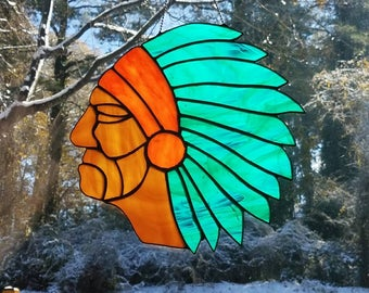Stained glass Indian Chief