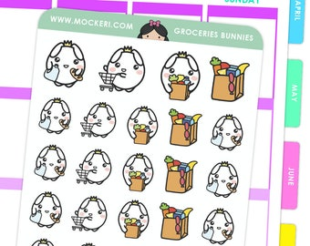 Grocery Bunnies / Planner Stickers