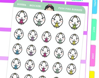 Bunny push pins / Planner Stickers