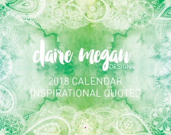 2018 Calendar A4 SALE hanging wall planner inspirational quotes with watercolour organise plan week to a page
