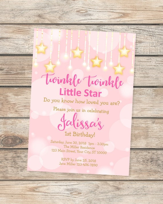 twinkle twinkle little star invitation first any age 1st birthday