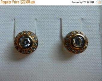 Summer Sale Vintage Sterling Silver 18k Vermeil and Cubic Zirconia Stud Back Earrings