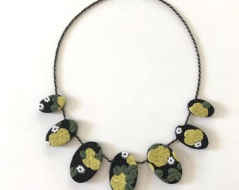 Flower print necklace! Handmade with polymer clay on sterling silver chain