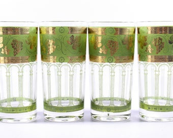 Cera glasses etsy 1960s mid century cera grape beverage glasses 4 60s vintage gold and green gumiabroncs Image collections