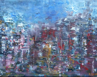 "Original Abstract Oil Painting by Nalan Laluk: ""Night in the City"""