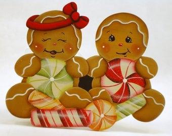 Peppermint Kids, Item #DPH139, Gingerbread Fridge Magnet and/or Shelf Sitter, ByBrendasHand, Gingerbread Kitchen, Gingerbread Decor