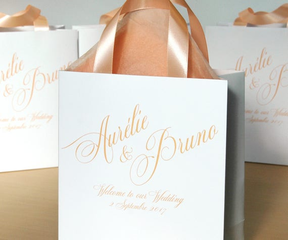 Welcome To Our Wedding Weekend Gift Bags: 30 Welcome To Our Wedding Bags With Peach Satin Ribbon Handles