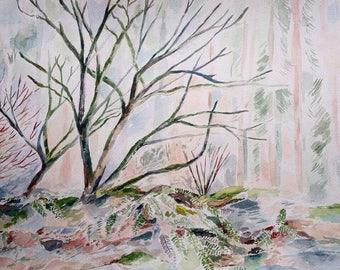 Original Art - Watercolor Landscape - Oregon Art - Landscape Art - Wall Decor