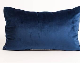 NEW! 14x20 Blue Velvet Lumbar Pillow Cover, navy velvet pillow cover, sapphire blue pillow cover, blue velvet rectangle pillow, navy velvet