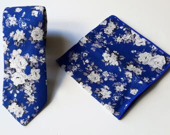 Blue Floral Neck Tie for Men and Matching Pocket Square