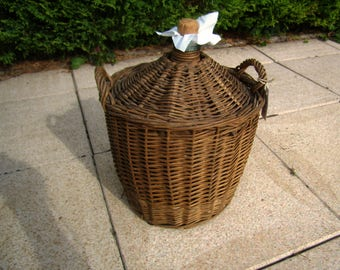 Antique French demijohn, Demijohn Wicker bottle covered, rustic French bottle basket, early 20th, 12 inches, 5.5 L