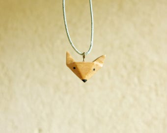 natural finish wooden Fox necklace