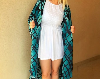 Blue and Black Crepe Maxi Kimono free size