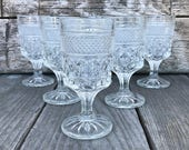 Anchor Hocking Wexford Claret Wine Glasses Clear Pressed Glass Stemware SET of 6 Glasses
