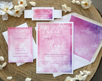 Personalized Wedding Invitation, Pink and White Watercolor Wedding Invitation, Informal Wedding Invitation, Watercolor Invite - SAMPLE
