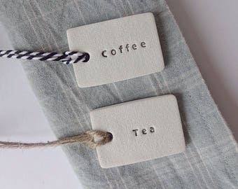 Set of 3, 4 or 5 custom clay tags