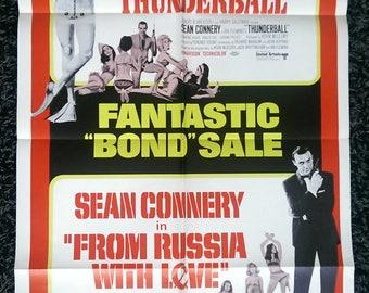 1968 James Bond 007 Sean Connery Cinema Theater Movie Print Poster